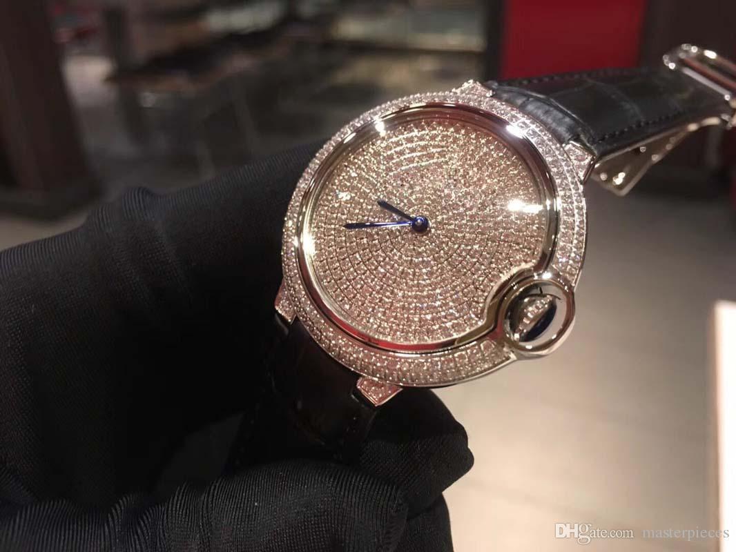 a96c87c355f5 Compre Reloj De Cuarzo De La Manera De Las Mujeres Correa De Cuero Genuino  Montre Femme Diamantes Completos Relojes De Pulsera De Las Señoras Vestido  De ...