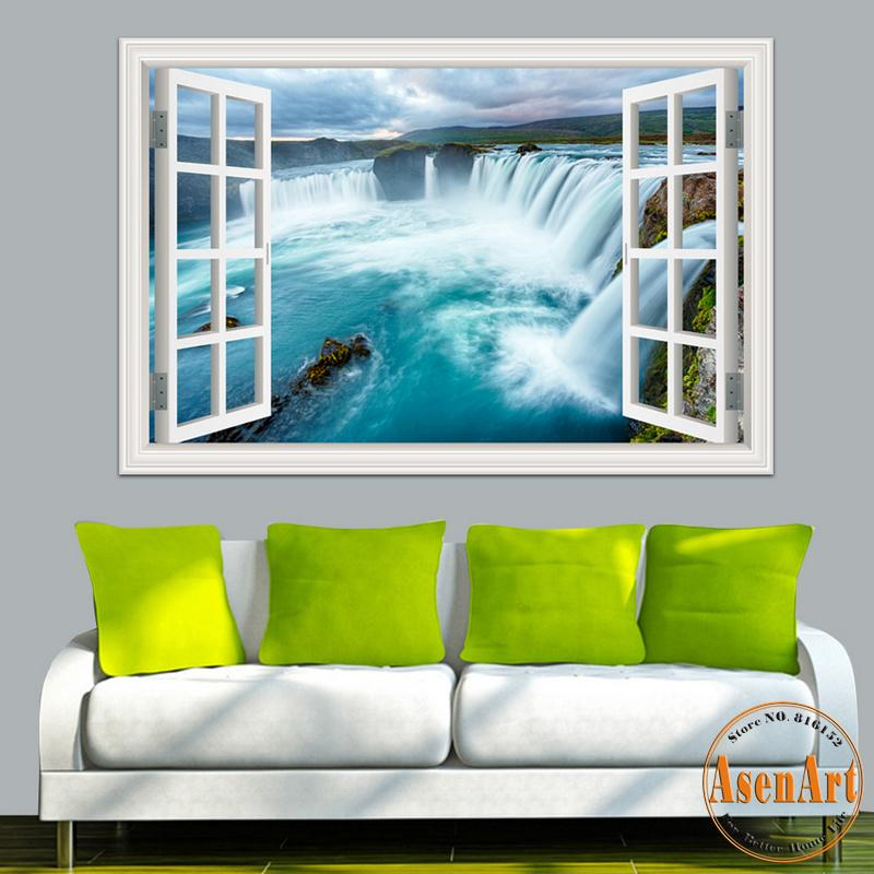 3D Wall Sticker Home Decal Waterfall 3D Window View Wallpaper Nature Landscape Wall Decals for Living Room Home Decor Wall Art