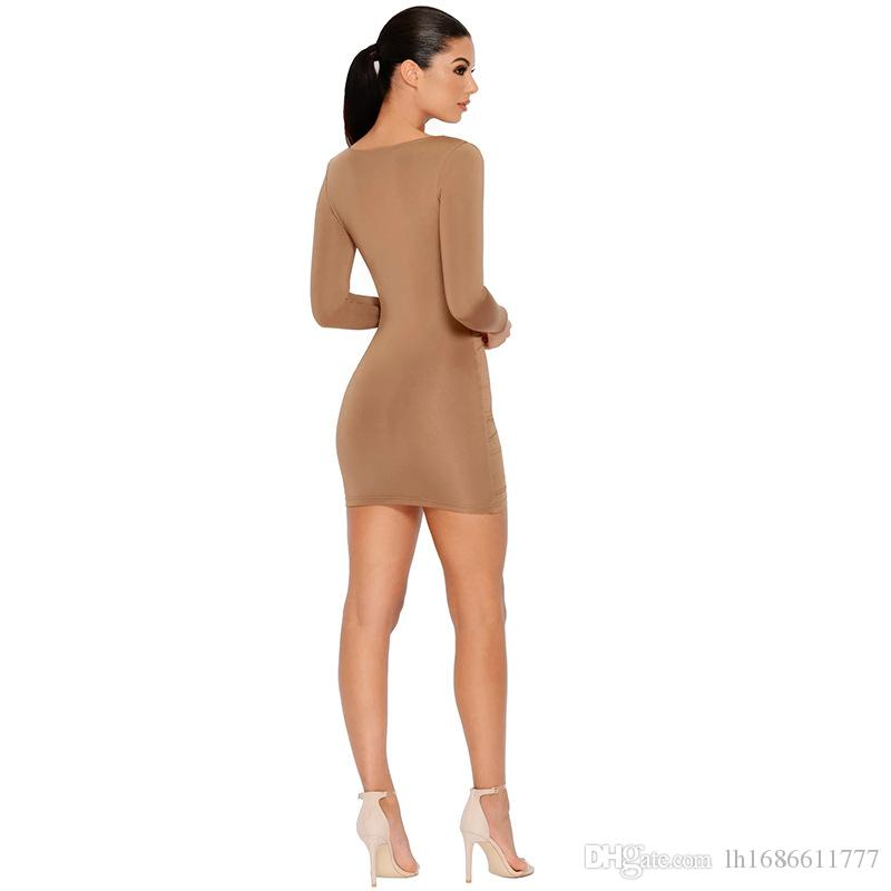 V-Neck Sheath Mini Dresses Women Bodycon Dress Spring New Long Sleeve Package Hip Sexy party Dress Ladies Casual Dresses