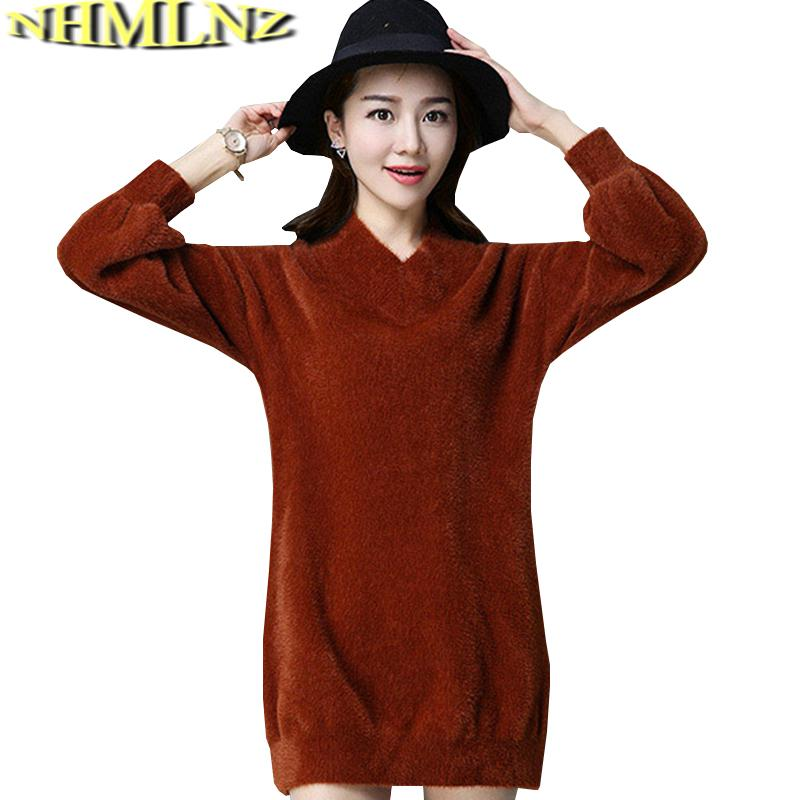 581d68be9db 2019 Autumn Winter Plus Velvet Sweater Women 2018 New Large Size Long  Knitted Pullover Sweater Inner Wear Women Fashion L296 From Cety