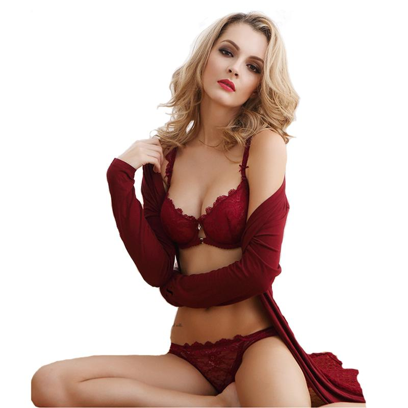 d591928a8dfda 2019 Wholesale Women Sexy Bra Set Lingerie Women S Female Underwear Lace  Transparent Claret Black Ultra Thin Nylon Push Up Bow 3 4 From Clothesb911