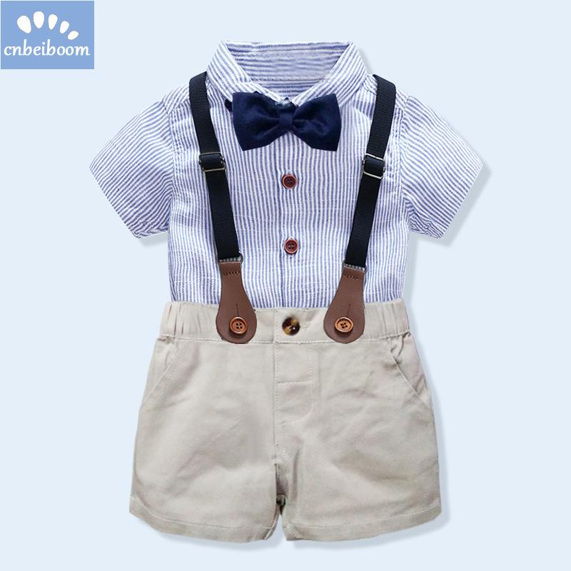 d198de914 kids boys clothing set gentlemen outfits 2018 summer newborn baby boy bow  tie shirt+overall short infant clothes for party wear