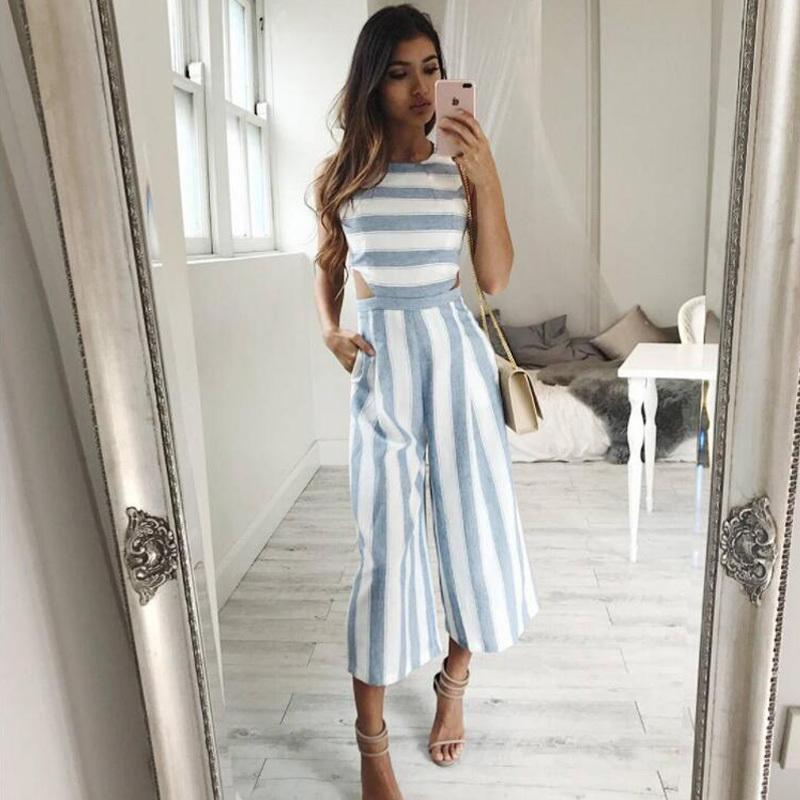 3c6342cdcde9 2019 Striped Jumpsuit Rompers 2017 Women Linen Cotton Overalls Ladies  Casual Loose Calf Length Wide Leg Pants Jumpsuits Cut Out WaistY1882902 From  Tao02