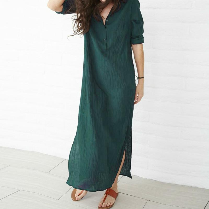 e91a267547d 2018 Plus Size Maxi Summer Cotton Linen Elegant Dress For Women Long Sleeve  Casual Party Club Dresses Loose Tunic Vintage Dress UK 2019 From Yoursuger