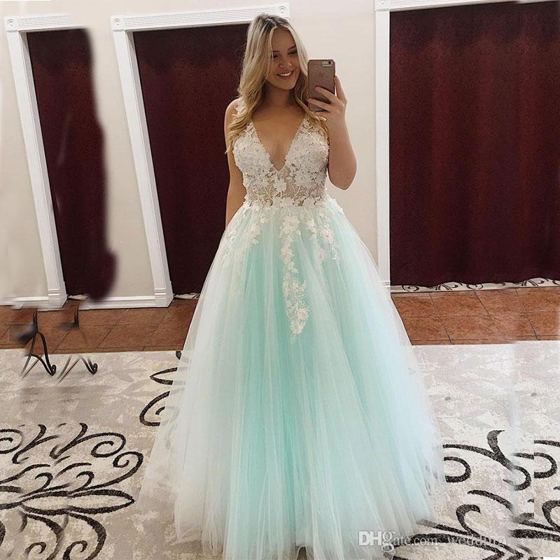 a092a113b2079 2019 Delicate Plus Size Prom Dresses Mint Aqua Turquoise White Formal Dress  Deep V Neck Lace Appliques Illusion Bodice Evening Party Gowns Exotic Prom  ...