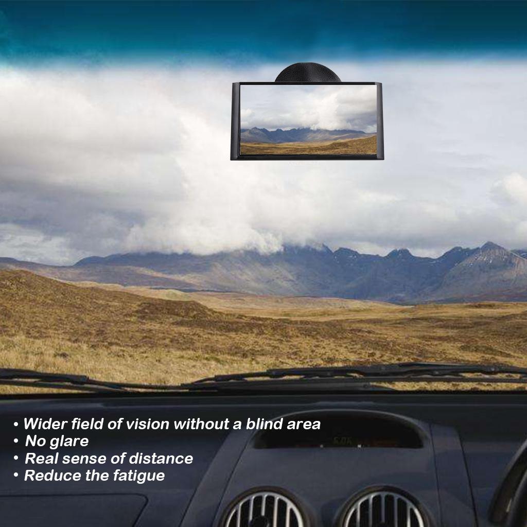 Interior del coche Espejo retrovisor con ventosa Punto ciego auxiliar Espejo cuadrado para vehículo auto Giratorio Sucker Mirror Black