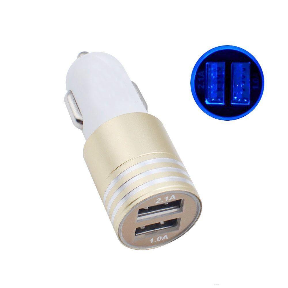 2.1A + 1A Aluminiumlegierung 2 Häfen usb LED helles Auto-Ladegerät USB-Auto-Ladegerät für iphone x 8 7 für Samsung s9 s8