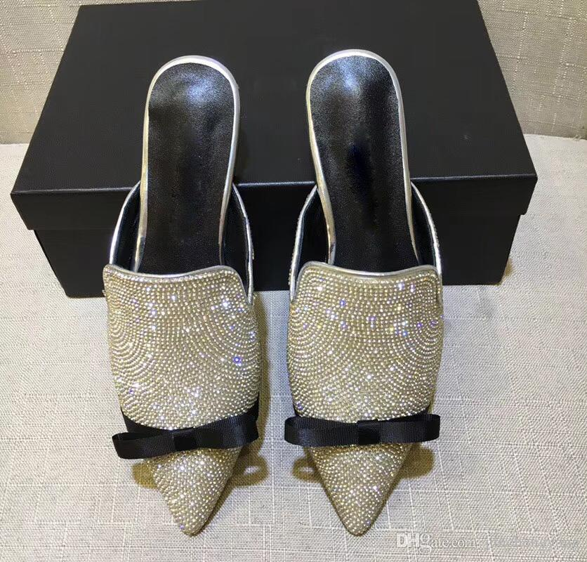 Newest Shining Rhinestone Dermis Mules Shoes Women Bowknot Silver ... 06ae23f69a8e