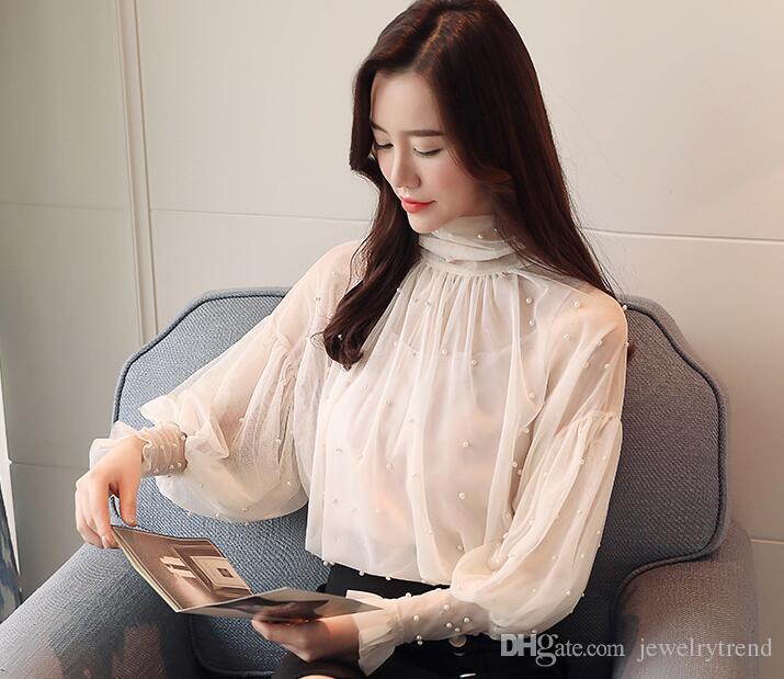 Camicetta di pizzo primavera donna 2018 manica lunga in rilievo elegante trasparente Top Camicetta casual da donna camicette grigio albicocca C3246