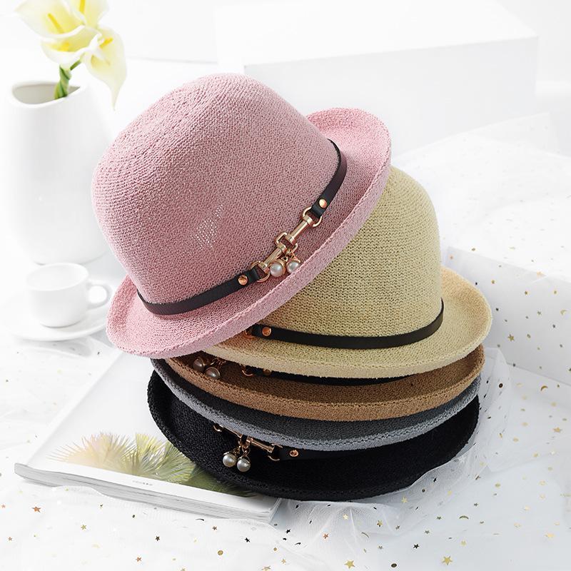 2018 New Woven Bucket Hat Female Summer Sun Visor Belt Pearl Pot Hat Ladies  Straw Hats Wedding Hats From Rainbowwo 3d2d8b8ef30