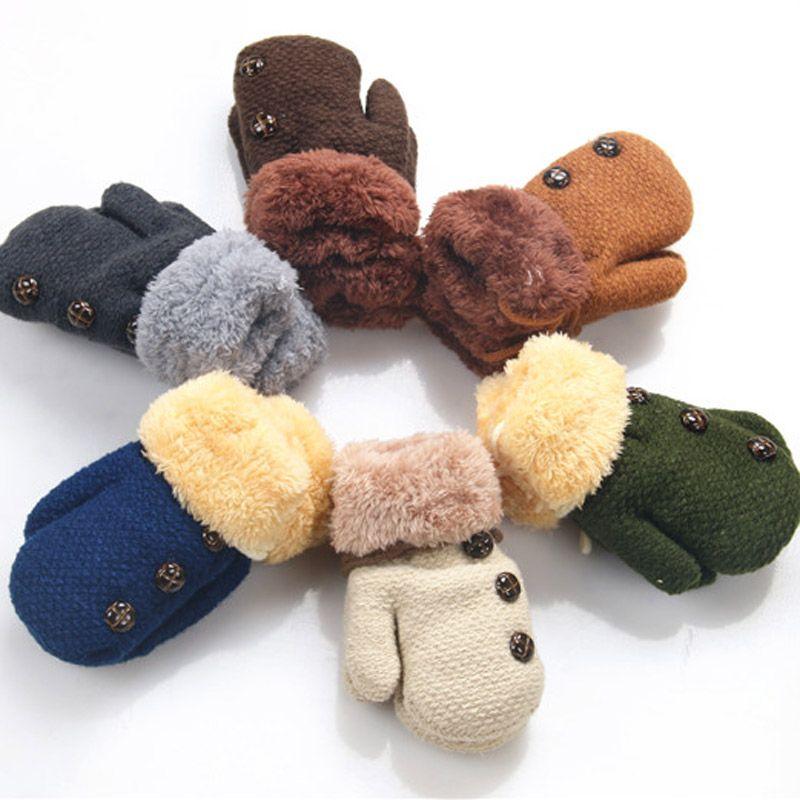 b585cc21b Winter Baby Boys Girls Gloves Full Finger Kids Mittens Warm Acrylic ...