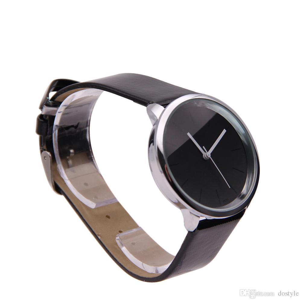 المرأة الأنيقة المعصم ووتش الأسود الهاتفي جلدية جولة النظير فتاة Wristwatch.PUPUG الكوارتز ساعة اليد الرجال النساء ووتش