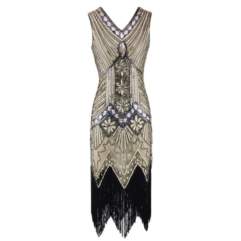 4dd61ff493c 2019 Vintage 1920s Flapper Great Gatsby Dress 2018 Summer Fancy Costumes V  Neck Cap Sleeve Sequin Fringe Party Midi Dresses From Candd