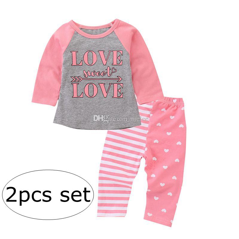 9b130a3c546 LOVE SWEET LOVE Letter Print INS Toddler Girls Set Pink Baby Outfits Infant  Kids Love Tshirts Tops   Kids Heart Striped AB Pants Girls Shivering Dress  Pink ...