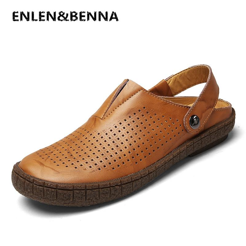 1660fafdec0a ENLEN BENNA Fashion Top Quality Mens Sandals Split Leather Summer ...