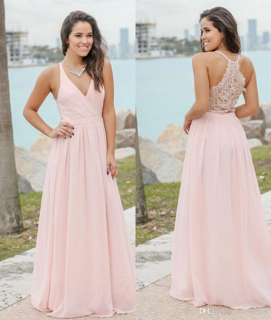 6b881642b39 2017 Elegant Pink Long Chiffon Country Bridesmaid Dresses Summer Beach  Formal Maid Of Honor Gowns Custom Made Cheap Wedding Guest Dress Bridesmaid  Dresses ...