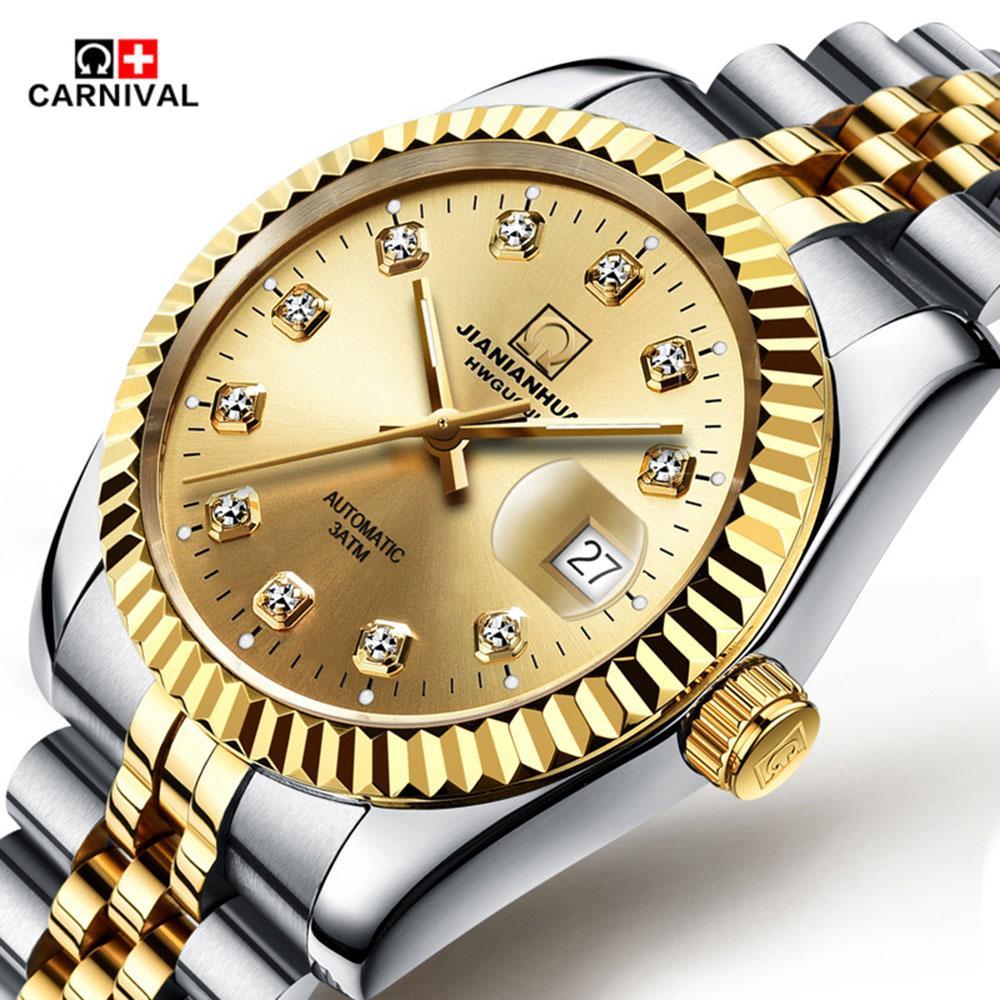 Acheter Carnival Marque Suisse Montre Homme Montres Mécaniques Datejust 18k  Or Jaune Mens Diamant Or Montres Bracelets Lunette Cannelée De  135.28 Du  ... f1a494816e4c