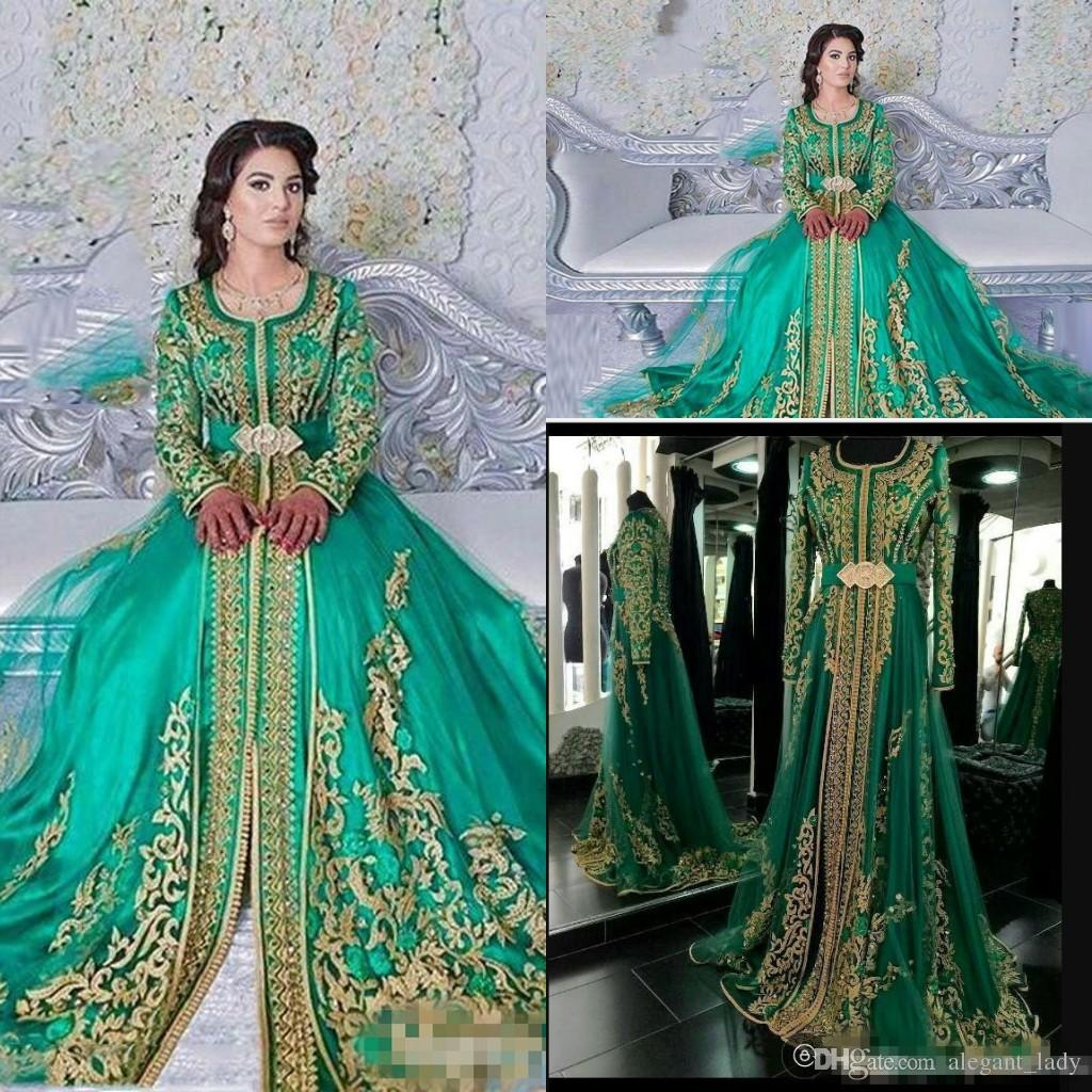 9034c75ad4c1 Long Sleeved Evening Dresses 2018 Emerald Green Muslim Formal Abaya Designs  Dubai Turkish Gold Applique Prom Dresses Gowns Moroccan Kaftan Dark Purple  Prom ...