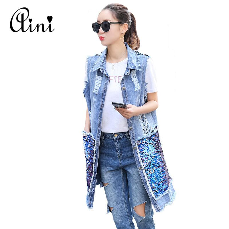 d8cea2bf9029 2019 2018 New Fashion Summer Autumn Women Sequined Long Sleeveless Denim  Vest Women Hole Denim Vests Jeans Jacket Plus Size S 3XL From Feiyancao