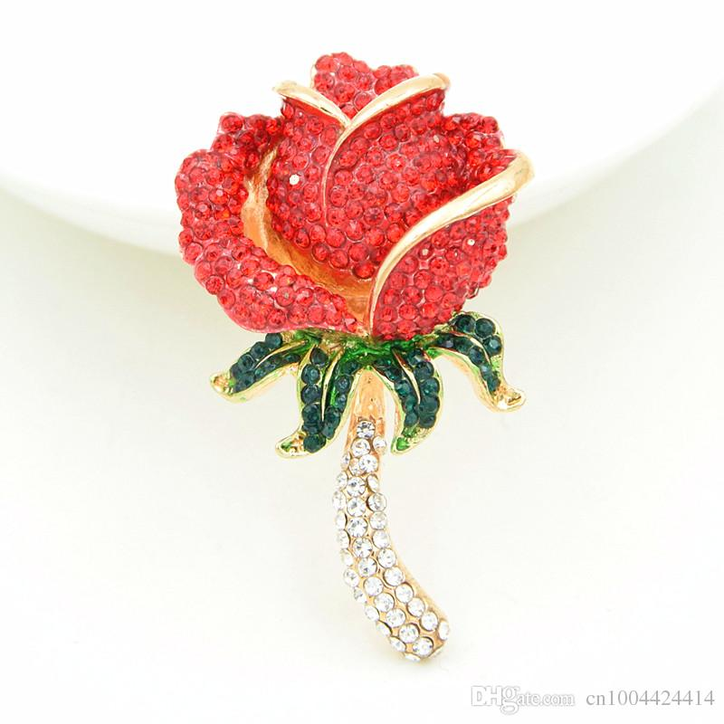 New Arrival Top Selling Shinning Red Crystals Rose Flower Brooch Unique Design Color Painting Lady Corsage Elegant Pretty Girls Jewelry Pins