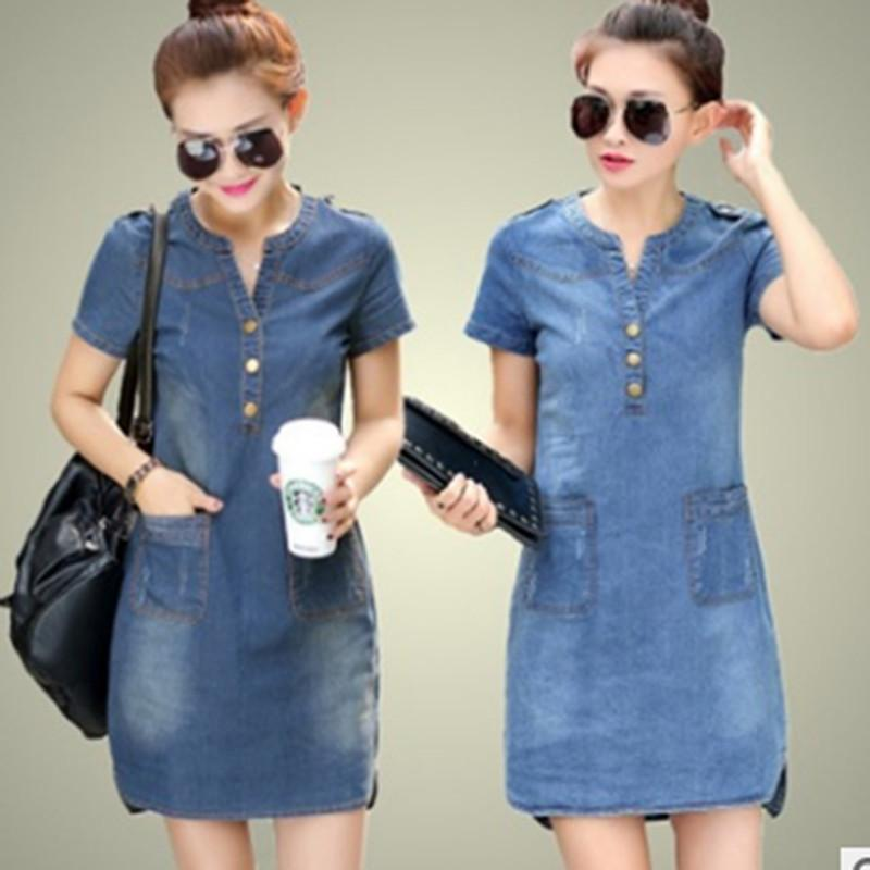 Summer Denim Dress Women Plus Size 5XL V Neck Low Cut Short Sleeve Slim Jeans  Dresses Wth Pocket Vestidos Women Clothing Party Dresses Teenagers Dress ... 091c8d040fd7