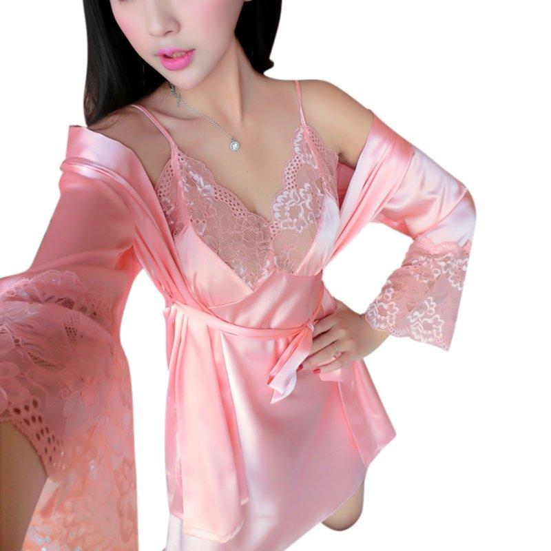 763689d281 2019 Sexy Lace Lounge Robe Set Silk Sleepwear Underwear Set Ladies Black Red  Pink Two Piece Pajamas Night Dress Plus Size Nightgown From Tutucloth