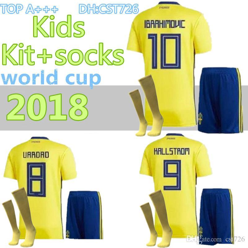 0b45fb12d0b 2019 2018 Kids Sweden Soccer Jersey Kit+Socks 2018 WORLD CUP Youth Boys  Zlatan Ibrahimovic Marcus Berg BERG TOIVONEN Football Shirt Full Set From  Cst726