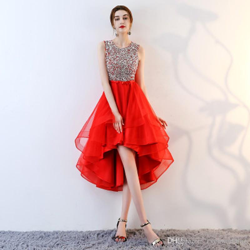 Beaded Organza High Low Prom Dresses Black Red Party Dresses Elegant Prom  Gowns Short Front Long Back Lace Gowns Long Red Prom Dresses From  Evenwedding 83a4200e8