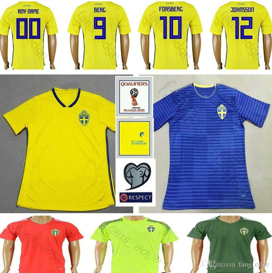 57e75687f4a 2019 2018 World Cup Sweden Soccer Jerseys 1 OLSEN 3 LINDELOF 4 GRANQVIST 5  OLSSON 6 AUGUSTINSSON 10 IBRAHIMOVIC Men Kids Youth Football Shirt From ...