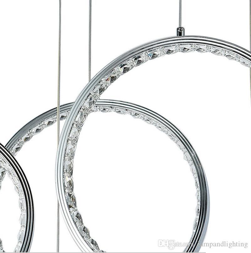 Modern Basit Şık 9 yüzükler 93 W alüminyum LED avize Kolye ışıkları Kristal Armatür Bar Mağaza Oturma odası dekor için