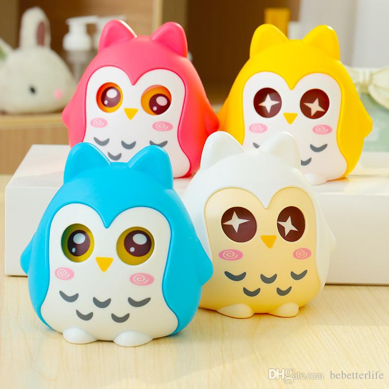 Dessin animé créatif 4 couleurs hibou tirelire cochon en plastique banque papier pièce tirelire de cadeau pour enfants mignons