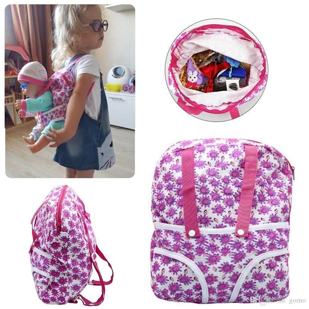 Children Kids Backpack & Doll Carrier Sleeping Bag For 18 inch American Girl Clothes brinquedos Reborn dolls
