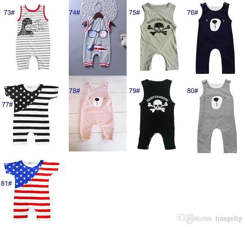 Baby Print Strampler 81 Designs Kaktus Wald Dinosaurier Einhorn Alpaka 4. Juli Sterne Jungen Mädchen Neugeborenen Kinder Sommer Kleidung Overall
