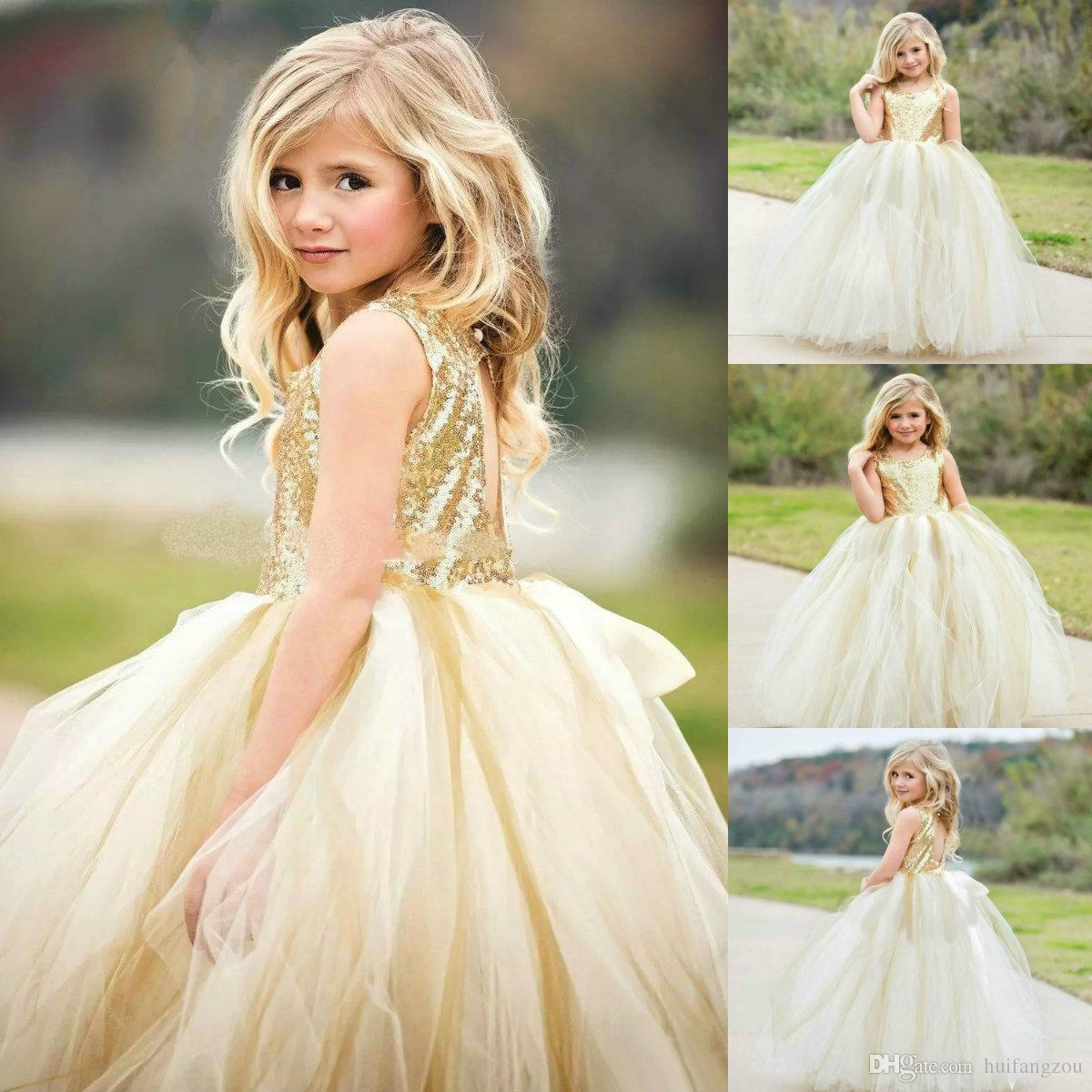 0795e4190af Cute Puffy Flower Girl Dresses Sequined Jewel Neck Tulle Ball Gown Girls  Pageant Dress Light Yellow Tulle Dresses Kids Formal Wear Ivory Flower Girl  Dresses ...