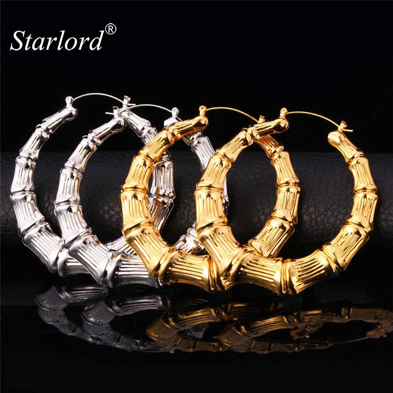 ed71a31ed 2019 Gold Fashion Big Bamboo Yellow Gold Color For Women Chic Statement  Jewelry Grain Basket Ball Wives Hoop Earrings E664 From Ornaments_store, ...