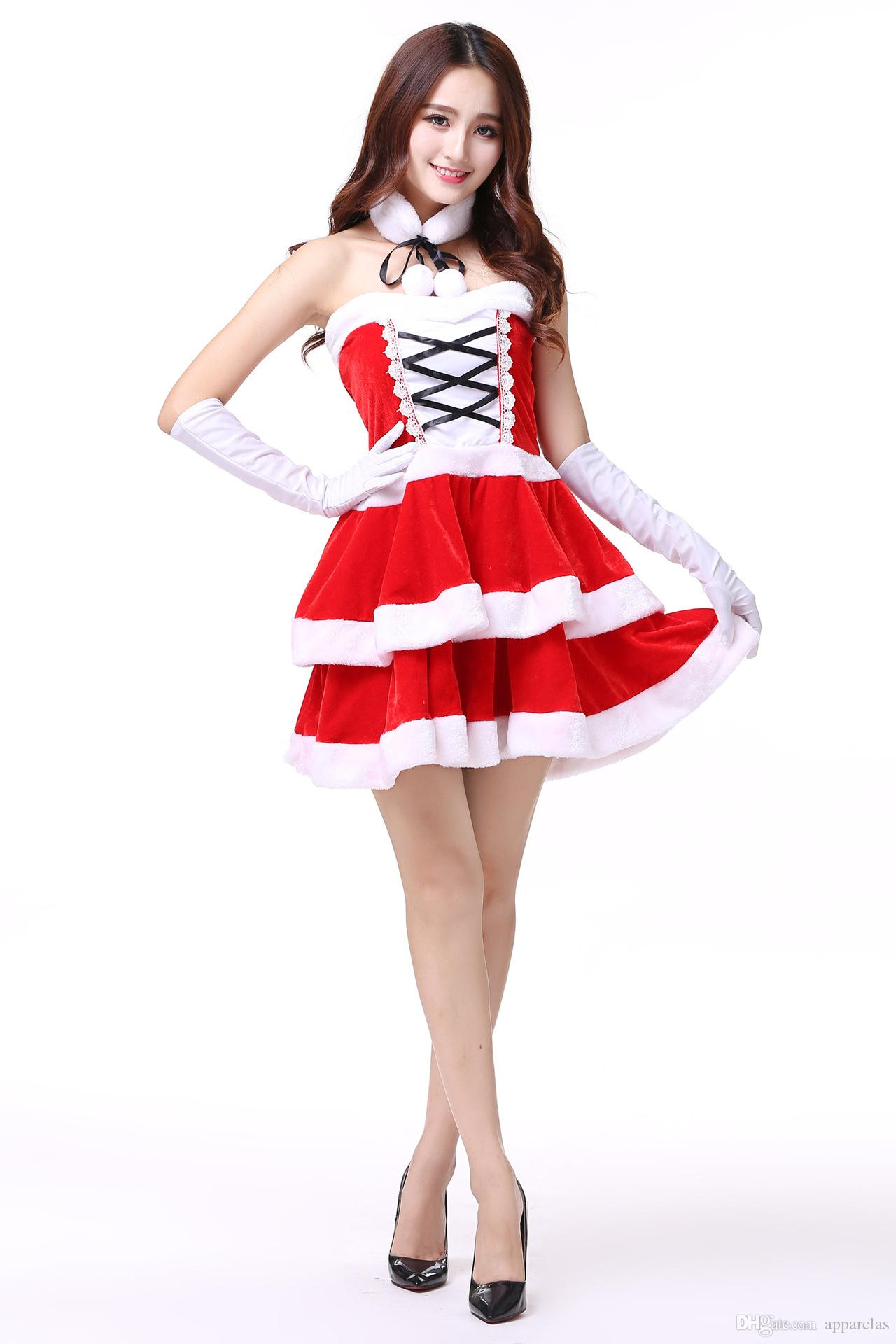 bcf54cabe57 Christmas Costume Adult Female Bunny Sexy COS Ball Red Santa Claus Clothes  Ds Costumes Group Kids Costumes Costumes For Six People From Apparelas