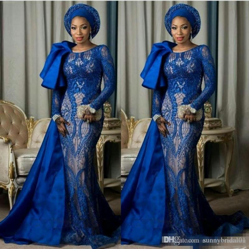 Royal Blue Arabia Evening Gowns 2018 Full Lace Long Sleeves Mermaid Prom Dresses With Satin Train Formal Party Wears For Nigerian Women