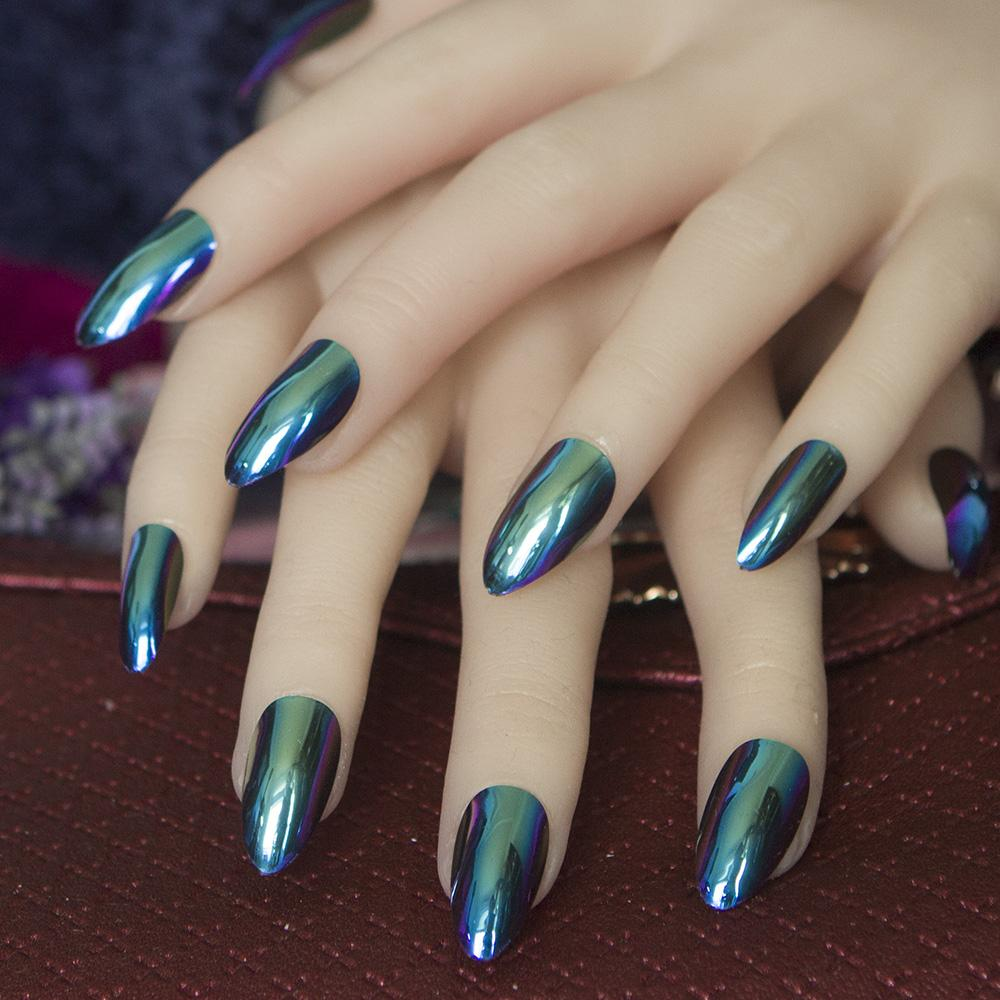 Acrylic Metal Mirror Effect Nails Artificial Fake Nails Full Cover ...