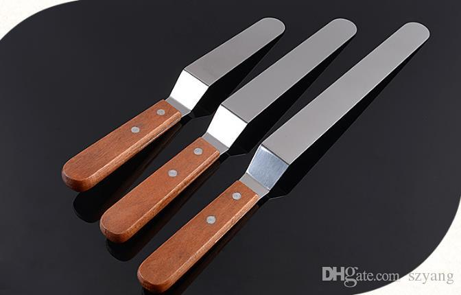 6'' 8'' 10'' Cake Icing Spatula With Wood Handle Cream Butter Smoother Blade Angled Flat Scraper Smoothing Tool SN1093
