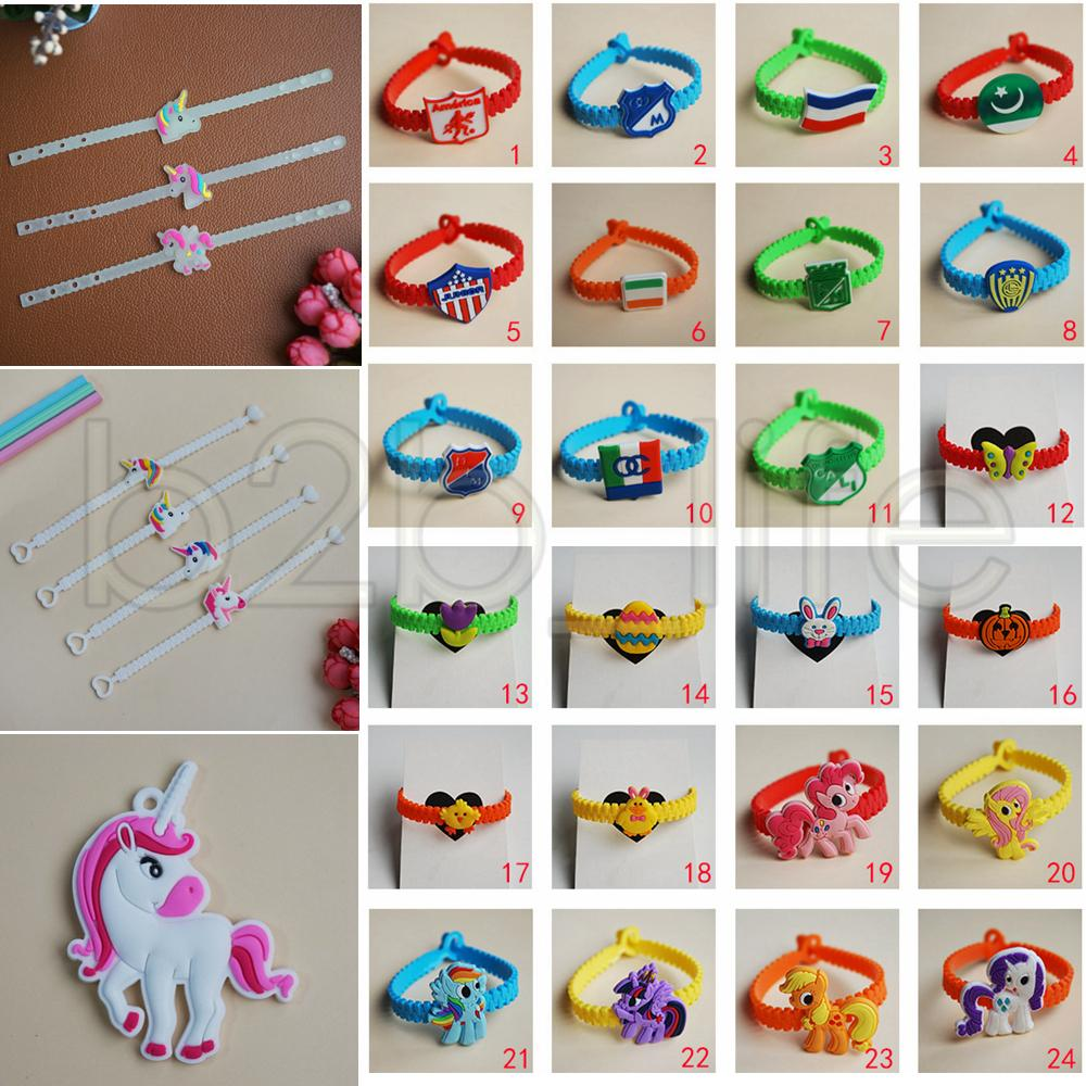 72 Styles Kids PVC Bracelets Wristband Unicorn Animals Emoji Flag Pattern Bracelet Birthday Party Favors Children Toy Jewelry AAA556 Gold Jewellery