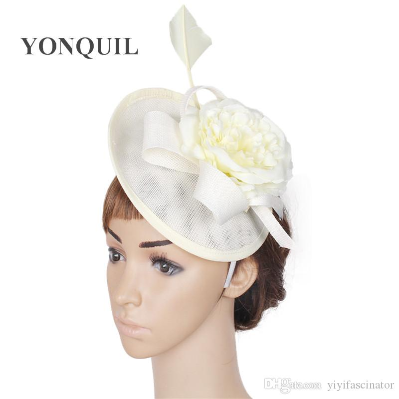 4c910549 Female Elegant Hair Fascinator Headbands Fabric Flower Pillbox Hat Wedding  Cocktail Married Headwear With Quill Bridal Headdress SYF34 Victorian Hats  Ascot ...