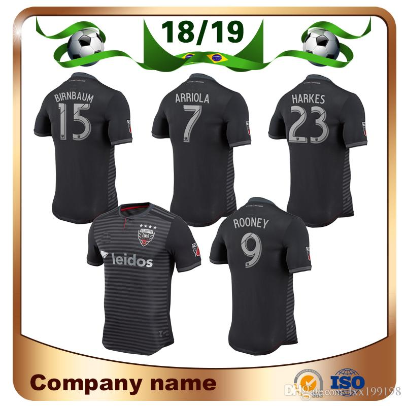 Compre 18 19 Fan Version DC United Camisa De Futebol 2019 MLS Home Preto    9 ROONEY Camisas De Futebol ACOSTA HARKES ARRIOLA STIEBER Uniforme De  Futebol De ... 7b81b4afdc166