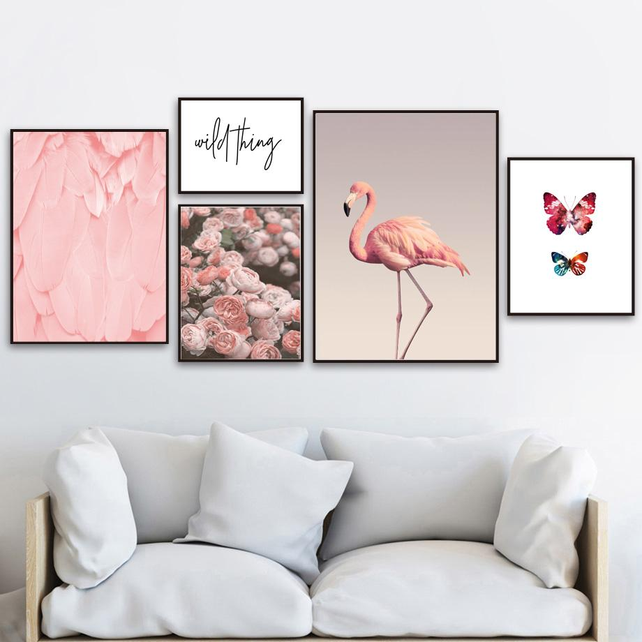 Malerei & Kalligraphie Leinwand Malerei Rosa Flamingo Kunst Poster Druckt Moderne Wand Poster Für Wohnzimmer Schlafzimmer Modularen Bilder Wohnkultur