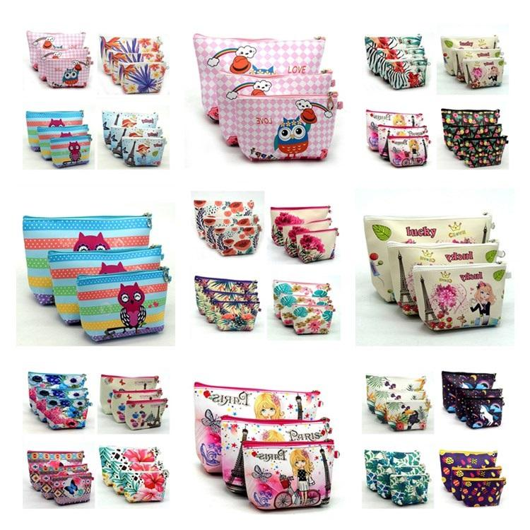 New Style Unicorn Printing Three-piece Set Cosmetic Bag Practical Cosmetic Storage Bag Washing Bag Travel Package T7I425
