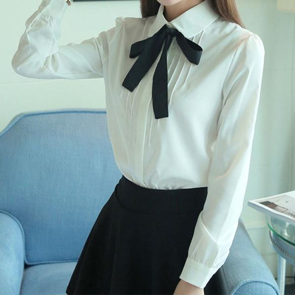 2017 Korean Women Elegant Bow Tie White Blouses Chiffon Casual Shirt Office Ladies Tops School Female Clothing
