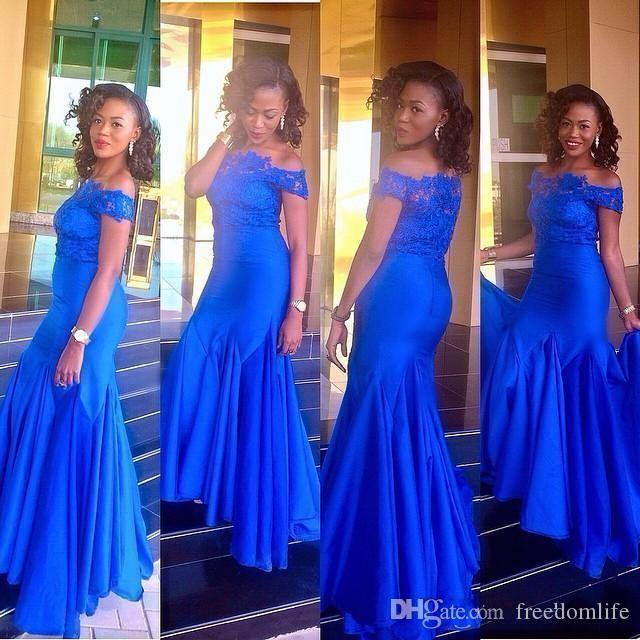 cdaf72bf05 2018 Aso Ebi Style Royal Blue Evening Dresses Mermaid Off Shoulder Lace  Short Sleeves Arabic Prom Dress Party Gowns Plus Size Formal Wear