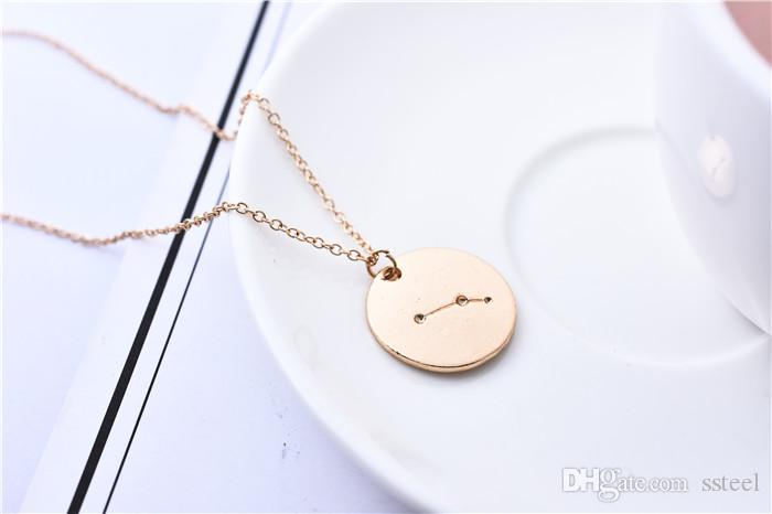 Wholesale Aries Constellation Coin Necklace Sky Chart Diagram Medallion Zodiac Astrological Sign Chain Jewelry Accessory Birthday Gift Handmade