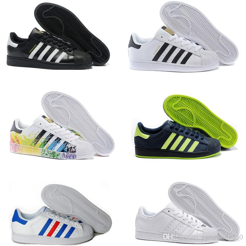 new styles 11905 70bf2 2018 Superstar Original White Hologram Iridescent Junior Gold Superstars  Sneakers Originals Super Star Women Men Sports Casual Shoes 36 45 Shoes Men  Tennis ...