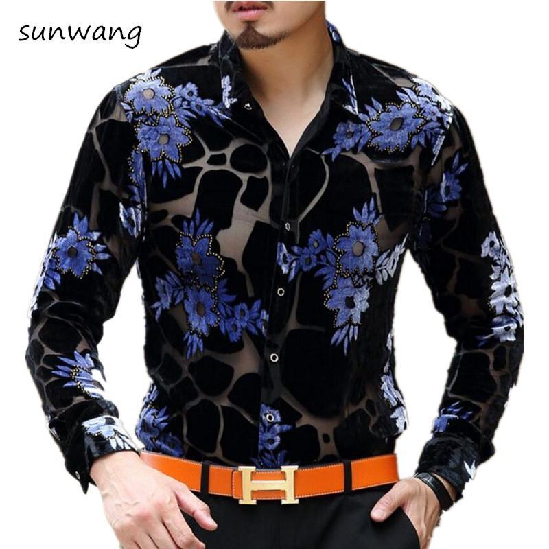 Baroque Camiseta Transparente Masculina Hombres Vintage A Print Través 2018 Para Seda Vestido Ver Flower Camisas Leopard Hombre De 8wN0vmn
