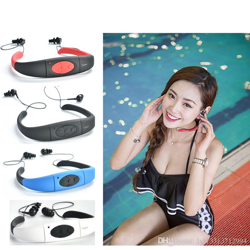 4G/8G Waterproof MP3 IPX8 Music Player Underwater Sports Neckband Swimming Diving FM Radio Earphone Stereo Audio Headphone